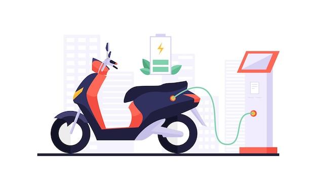 Carregando motocicleta elétrica e touchpad exibindo informações de carregamento