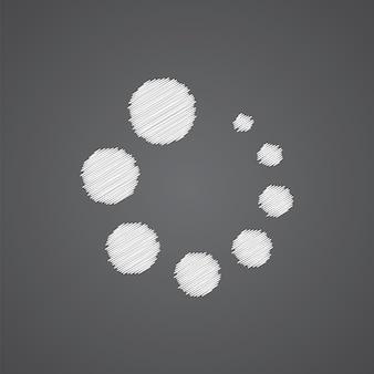 Carregando o esboço do ícone do logotipo do doodle isolado em fundo escuro