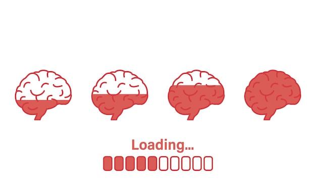 Carregando o progresso do ícone do cérebro carregando a barra de sabedoria ilustração do símbolo do brain boost