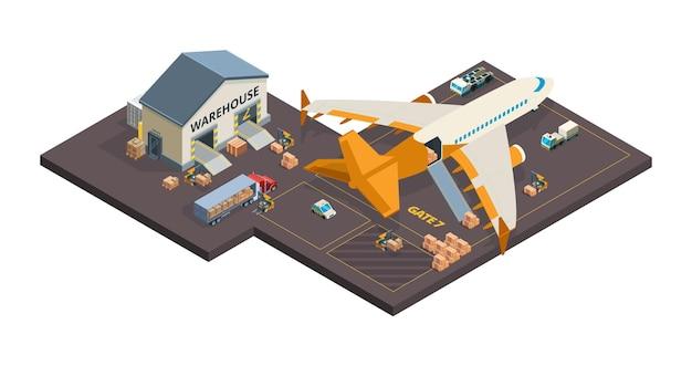 Carregando pacotes de aviões e contêineres
