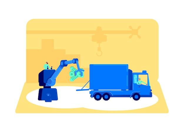 Carregando produto em ilustração de conceito plano de van