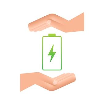 Carregar a bateria com as mãos. conjunto de indicadores de nível de carga da bateria. ilustração vetorial.