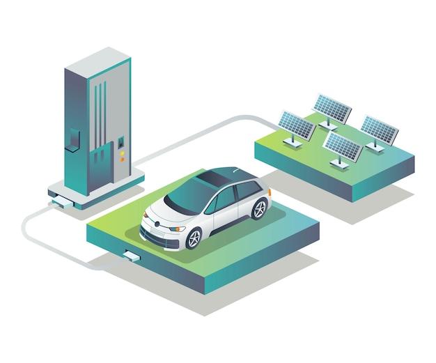 Carregue o carro elétrico com painéis solares