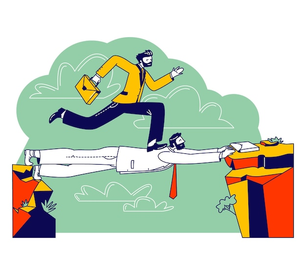 Carreira de homem de negócios, personagem alpinista social com uma maleta passando por cima da cabeça do colega como na ponte