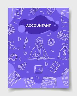 Carreira de trabalho de contador com estilo doodle para modelo de banners, panfletos, livros e capa de revista