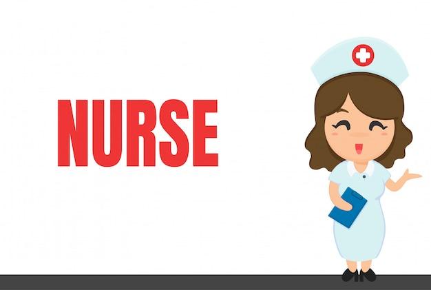 Carreira dos desenhos animados. enfermeira e notebook enquanto verifica a condição do paciente.