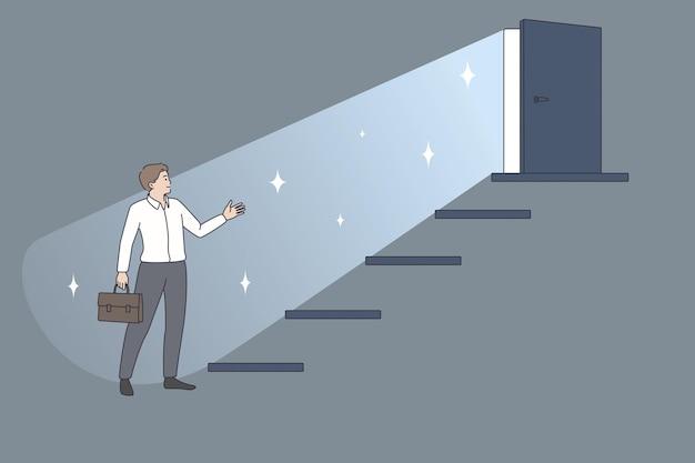 Carreira empresarial e conceito de desenvolvimento. trabalhador jovem empresário em pé perto da escada com a porta aberta no topo e um futuro melhor com ilustração vetorial de sucesso