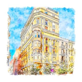 Carrer gran de gracia barcelona esboço em aquarela desenhado à mão