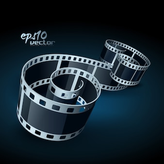 Carretel de filme 3d realista em vetor