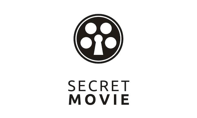 Carretel de filme criativo com design de logotipo do buraco da fechadura