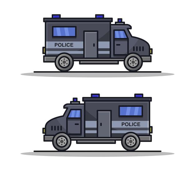Carrinha da polícia ilustrada com desenho animado