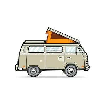 Carrinha de autocaravana clássica com uma tenda aberta no topo