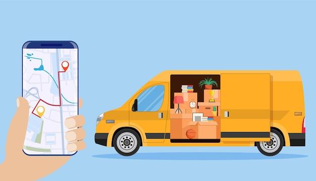 Carrinha de entrega com utensílios domésticos, smartphone com mapa.