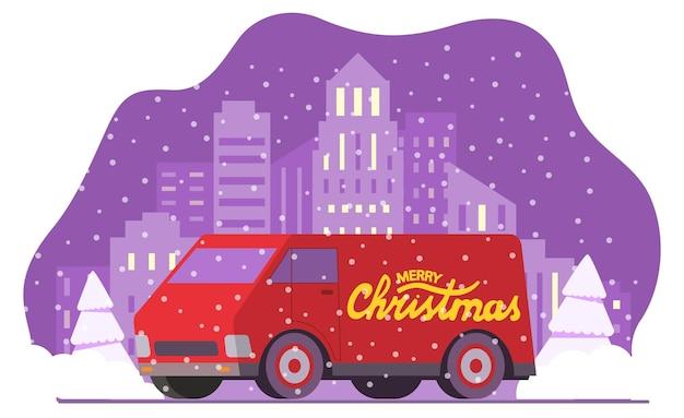 Carrinha de entrega de natal. neve caindo da paisagem urbana do horizonte da cidade do inverno. automóvel vermelho com a inscrição feliz natal.