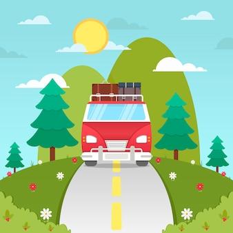 Carrinha de mão desenhada sobre o fundo de viagens de estrada
