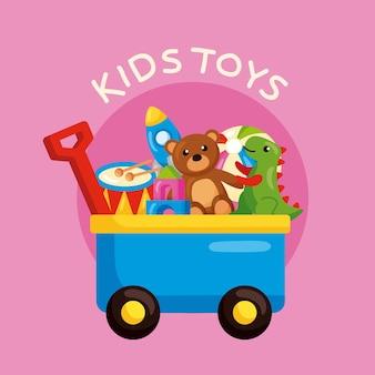 Carrinho com ícones de brinquedos infantis
