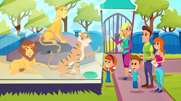 Carrinho da família na frente da barreira de vidro com leões no zoológico
