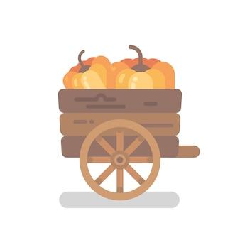 Carrinho de abóbora de madeira com ilustração plana de duas abóboras
