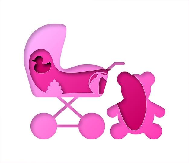 Carrinho de bebê de vetor em estilo de papel artístico. arte digital