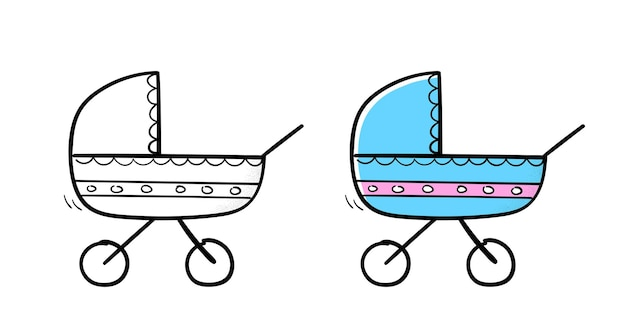 Carrinho de bebê no estilo de desenho do doodle. ilustração vetorial.