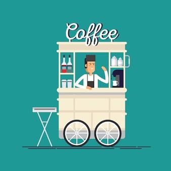 Carrinho de bicicleta criativo café rua detalhada
