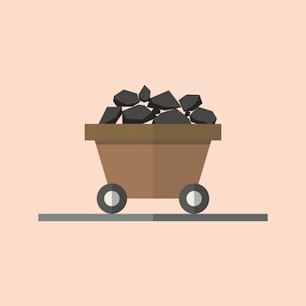 Carrinho de carvão em estilo simples. ilustração