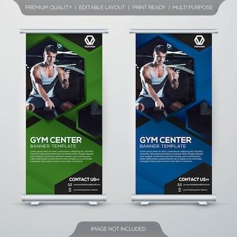 Carrinho de centro de fitness xbanner rollup modelo de design