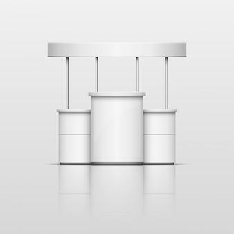 Carrinho de comércio de promoção de exposição vazia em branco 3d branco com telhado