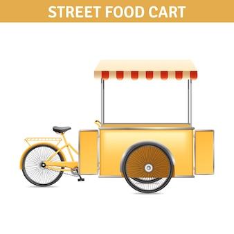 Carrinho de comida de rua com portas de rodas e tenda