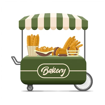Carrinho de comida de rua de padaria.