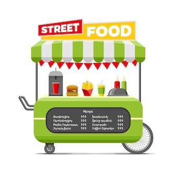 Carrinho de comida de rua rápida.