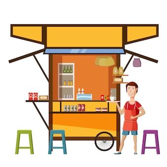Carrinho de comida de rua warung com vendedor homem café restaurante pequeno negócio familiar, loja