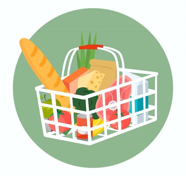 Carrinho de compras cheio de alimentos e bebidas. .