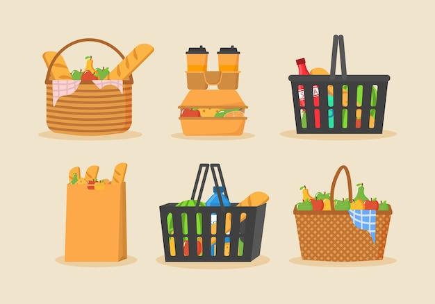 Carrinho de compras cheio de alimentos, frutas, produtos e mercearias.