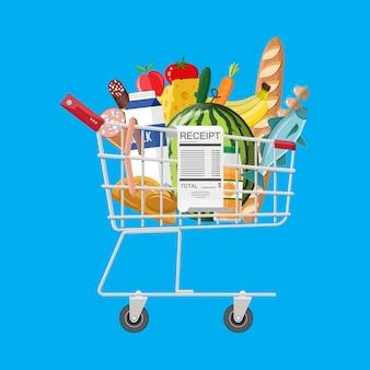 Carrinho de compras cheio de compras e recibo