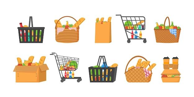 Carrinho de compras cheio de ilustrações de comida