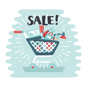 Carrinho de compras cheio de produtos eletrônicos e esportes