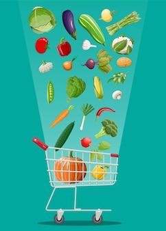 Carrinho de compras cheio de vegetais. cultivando alimentos frescos, produtos da agricultura orgânica.