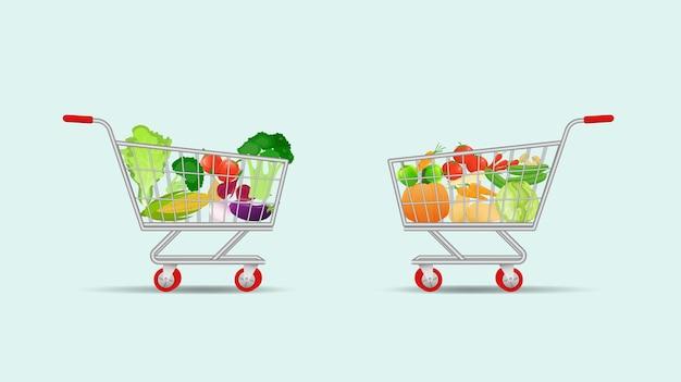 Carrinho de compras cheio de vegetais