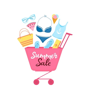 Carrinho de compras com artigos de praia e acessórios para relaxar