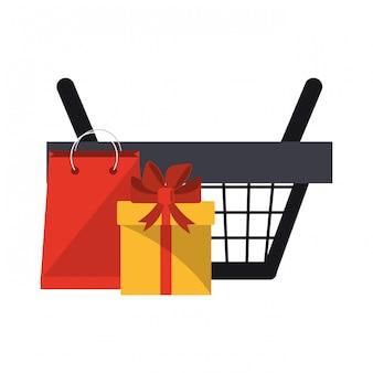 Carrinho de compras com caixa de presente e saco