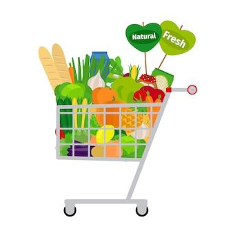 Carrinho de compras com comida