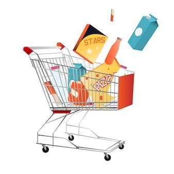 Carrinho de compras com compras