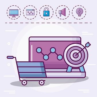 Carrinho de compras com conjunto de ícones