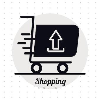 Carrinho de compras com ícone de estilo de linha de seta para cima e desenho de ilustração de letras