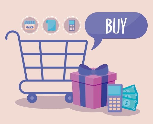 Carrinho de compras com ícones comerciais