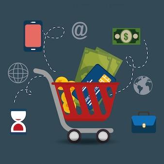 Carrinho de compras com ícones de comércio eletrônico