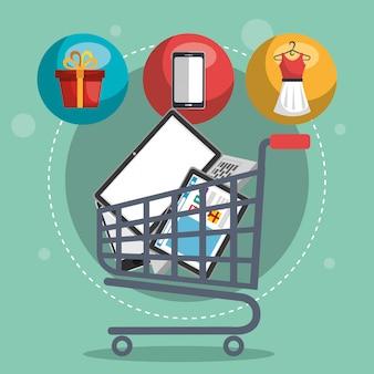 Carrinho de compras com marketing conjunto de ícones