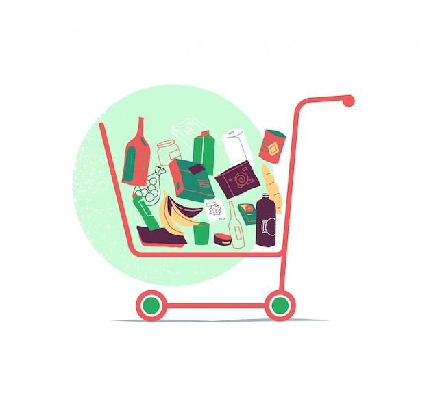 Carrinho de compras com muitos produtos dentro da cesta