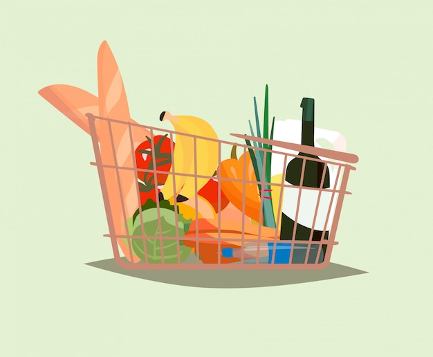Carrinho de compras com produtos, ilustração em vetor plana.